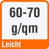 Piktogramm mit der Aufschrift 60 bis 70 g/qm