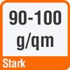 Piktogramm mit der Aufschrift 90 bis 100 g/qm