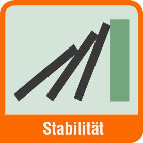 Piktogramm mit der Aufschrift Stabilität