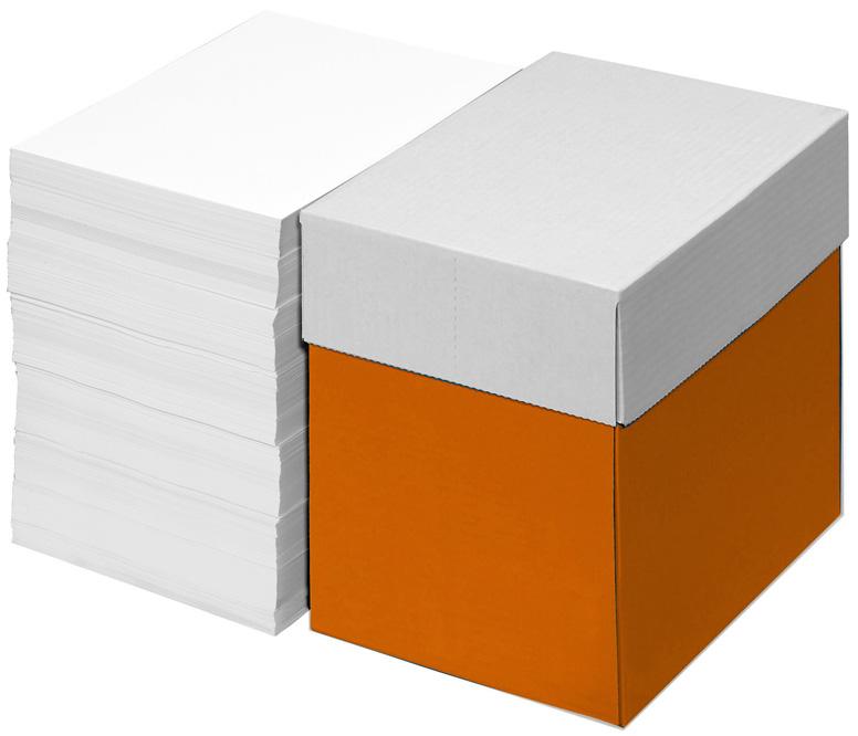 Abbildung mit einem verpackten Stapel Papier und einem unverpackten daneben