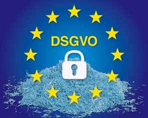 EU-Logo der DSVGO mit Aktenvernichter-Schnipseln