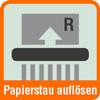 Piktogramm Aktenvernichter mit einer Grafik zum Auflösen von Papierstau