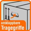Piktogramm mit Aufschrift umklappbare Tragegriffe