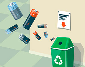Illustration einer Batterie-Recyclingtonne