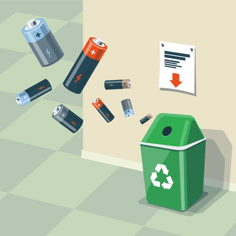 Batterienbild mit Recycling-Tonne