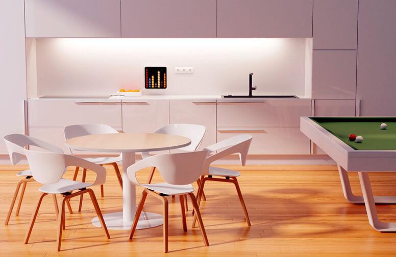 Imagebild runder Beistelltisch mit moderner Sitzgruppe im Aufenthaltsraum