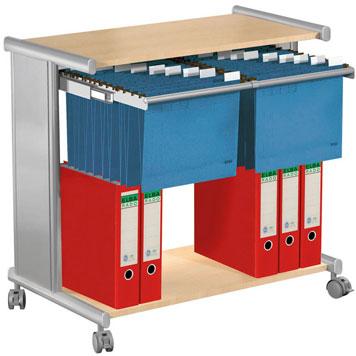 Bürowagen mit Hängeregister und Ordnerablage