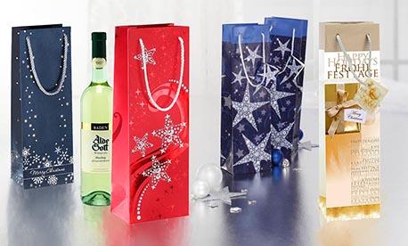 Flaschenbeutel mit Weihnachtsmotiven