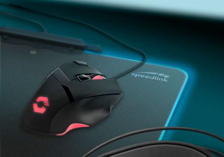 Gamingmaus mit Speedlink Mousepad