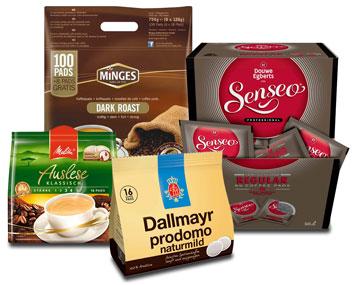 Kaffeepads unterschiedlicher Hersteller