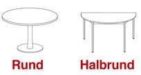 Die verschiedenen Formen von Konferenztischen: rund und halbrund