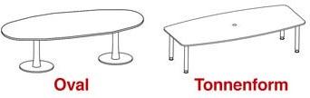 Die verschiedenen Formen von Konferenztischen: oval und tonnenförmig