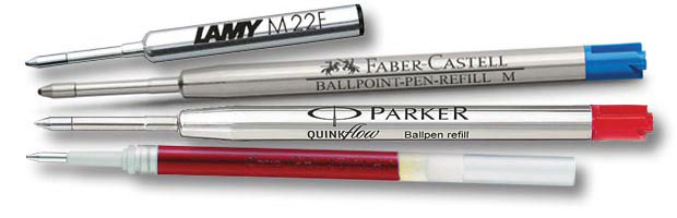Vier verschiedene Kugelschreiberminen
