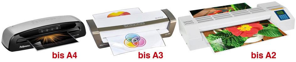 Drei verschidene Laminiergeräte für Formate bis A4, A3 und A2