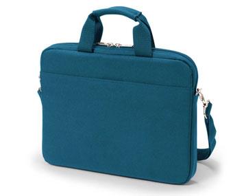 Blaue Laptoptasche aus Kunstfaser mit Tragegriff und Schultergurt