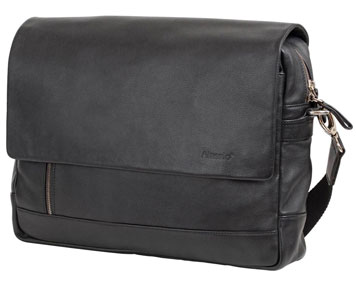 Laptoptasche aus schwarzem Leder mit Schultergurt