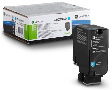Original Lexmark Toner 74C20C0 cyan für Lexmark Laserdrucker CS 720 de