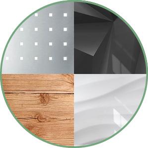 Verschiedene Designs von Magenettafeln in runder Klinke