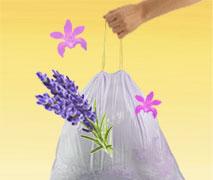 Eine Abbildung, die duftende Müllbeutel mit Hilfe von Lavendelblüten visualisiert