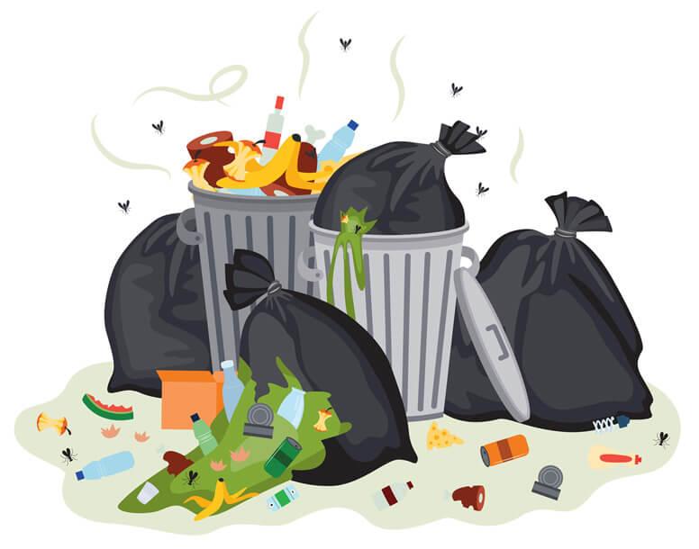 Berg mit stinkendem Abfall