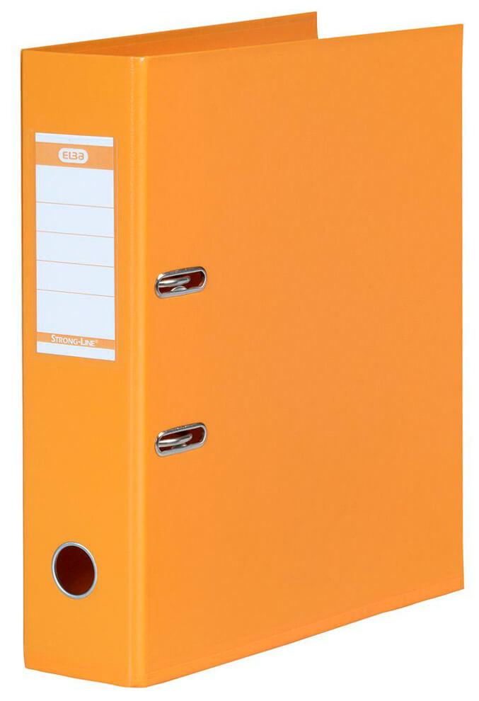 Orangefarbener Ordner aus Kunststoff