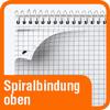 Piktogramm mit Aufschrift Spiralbindung oben