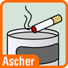 Piktogramm Mülleimer mit Ascher