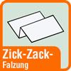 Piktogramm mit der Aufschrift Zick-Zack-Falzung