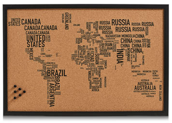 Pinnwand mit Weltkarte