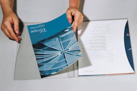 Dunkelblauer Präsentationshefter von Durable mit transparentem Deckel