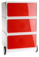 Ein roter Rollcontainer ohne Griffe