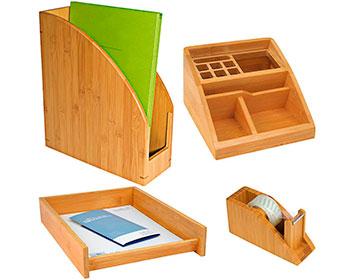 Schreibtischset aus Bambus