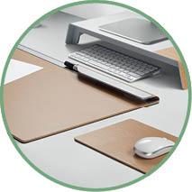 Detailabbildung Schreibtischunterlagen in verschiedenen Formen und Größen