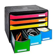 Schubladenbox mit verschieden großen Schubladen