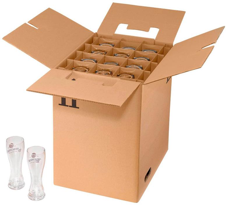 Umzugskarton gefüllt mit Gläsern
