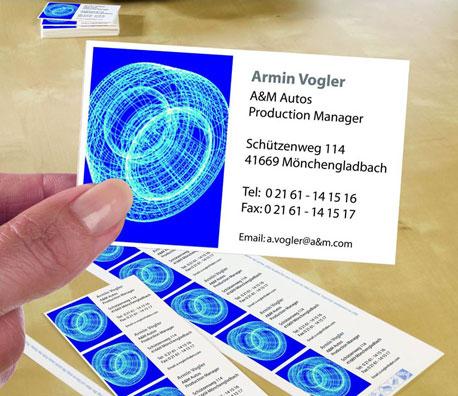 Gestaltung einer Visitenkarte