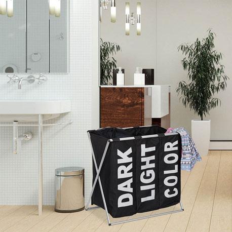 Wäschesortierer mit drei Unterteilungen für dunkle, helle und bunte Wäsche