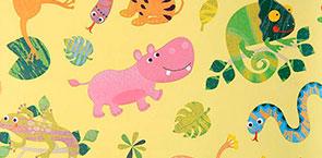 Motiv-Geschenkpapier mit wilden Tieren