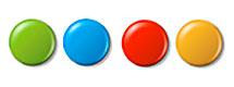 Vier verschieden farbige Magneten