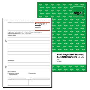 sigel Formularbuch GB515 Bewirtungskostenbeleg