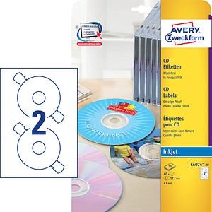 40 AVERY Zweckform CD-Etiketten C6074-20 weiß