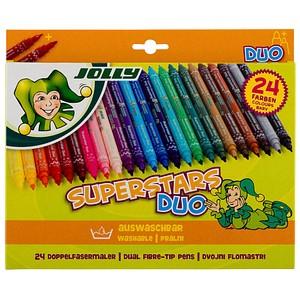 24 JOLLY SUPERSTARS DUO Filzstifte farbsortiert