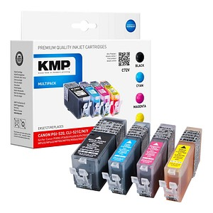 KMP C72V schwarz, cyan, magenta, gelb Tintenpatronen ersetzt Canon PGI-520 BK, CLI-521 C/M/Y