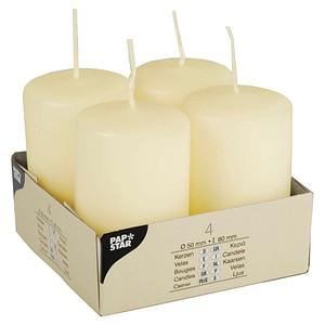 4 PAPSTAR Kerzen elfenbein