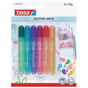 6 tesa Glitter Deco Candy Colors Glitzerstifte farbsortiert 2,0 - 4,0 mm