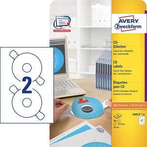 50 AVERY Zweckform CD-Etiketten L6015-25 weiß