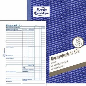 AVERY Zweckform Formularbuch 305 Kassenbericht