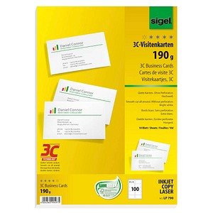 100 sigel Visitenkarten LP790 weiß