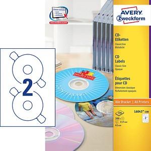 200 AVERY Zweckform CD-Etiketten L6043-100 weiß
