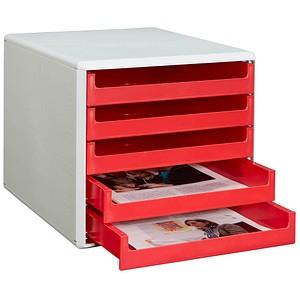 Schubladenbox rot mit 5 Schubladen